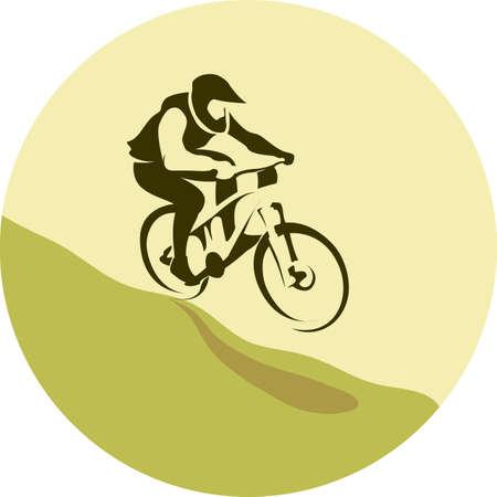 Illustration pour Mountain bike rider in wild mountain track background illustration vector - image libre de droit