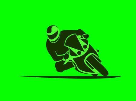 Illustration pour Vector illustration of motorcycle racer on sportbike - image libre de droit