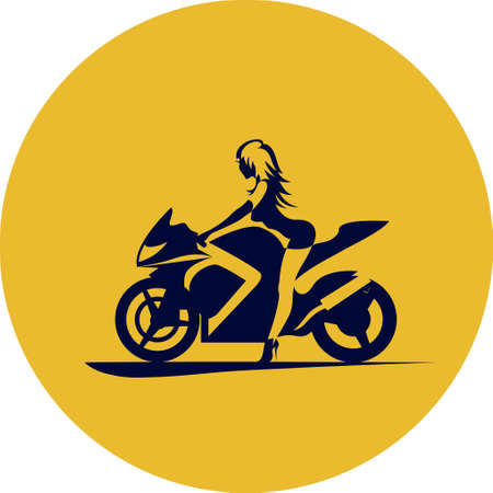 Illustration pour drawing girl on sport motorcycle - image libre de droit
