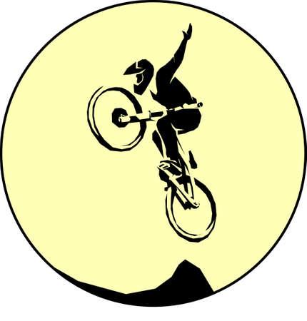 Illustrazione per Mtb cyclist silhouette dirt jumping trick - Immagini Royalty Free