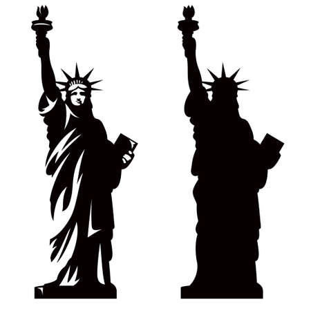 Illustration pour Statue of Liberty. New York landmark. American symbol. Vector silhouette - image libre de droit
