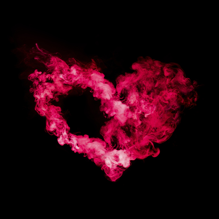 Photo for heart shape from red smoke isolated on black background - Royalty Free Image