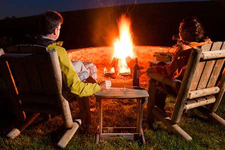 Couple by the bonfire