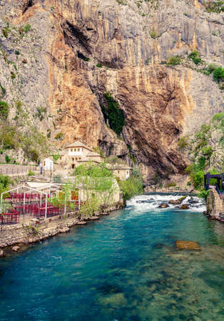 Photo for Dervish monastery or tekke at the Buna River spring in the town of Blagaj, Bosnia - Royalty Free Image