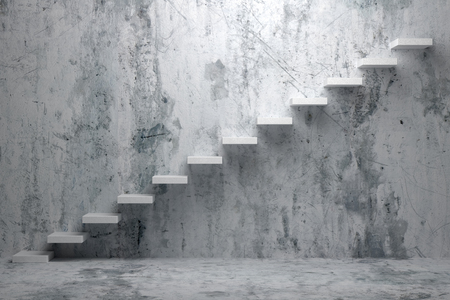Foto de Business rise, forward achievement, progress way, success and hope creative concept: Ascending stairs of rising staircase in rough dark empty room with concrete floor and concrete wall 3d illustration - Imagen libre de derechos