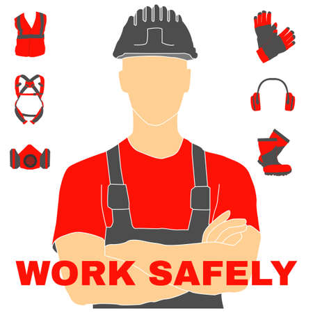 Illustrazione per Occupational Safety and Health vector icons and signs set. Protective helmet goggles, footwear, and respirator from radiation, chemical, and bio dangerous. - Immagini Royalty Free