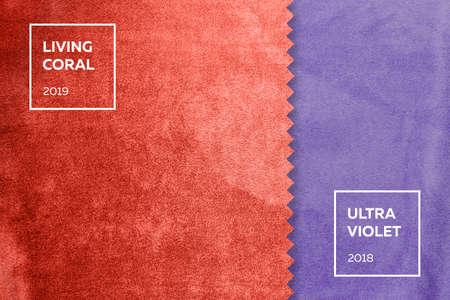 Foto de fabric with a nap in colors of the year 2018, ultra violet, living coral 2019 - Imagen libre de derechos