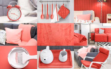 Photo pour Interior collage in coral color trend of the year 2019 - image libre de droit