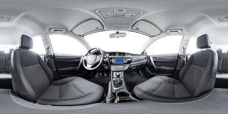 Foto de Spherical panorama 360 inside car equidistant panorama inside car. Vehicle interior panorama 360 degree of auto virtual panorama vehicle interior 360. 360 panorama of auto. Inside automobile panorama - Imagen libre de derechos