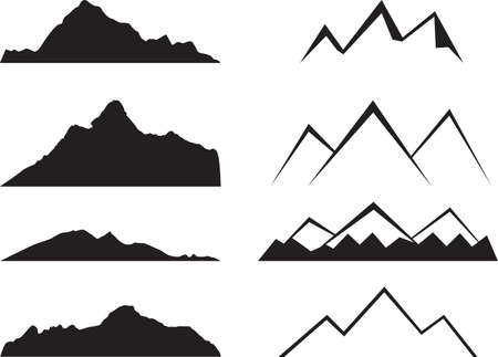 Illustration pour Mountains silhouette illustrated on white - image libre de droit