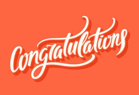 Illustration pour Congratulations. Hand lettering. - image libre de droit