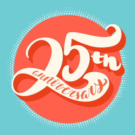Illustration for Twenty-fifth anniversary card. Hand lettering. Vector hand drawn illustration. - Royalty Free Image