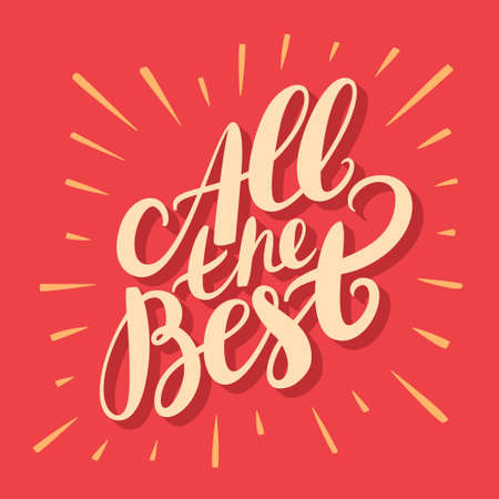 Illustration for All the best. Greeting card. Hand lettering. Vector hand drawn illustration. - Royalty Free Image