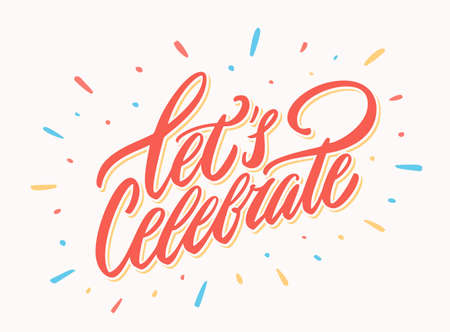 Illustration pour Let's celebrate banner. Vector lettering. Vector hand drawn illustration. - image libre de droit