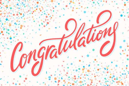 Illustration pour Congratulations card. Hand lettering - image libre de droit