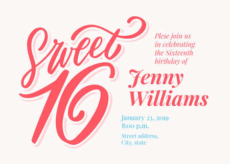 Photo for Sweet 16. Hand lettering. - Royalty Free Image