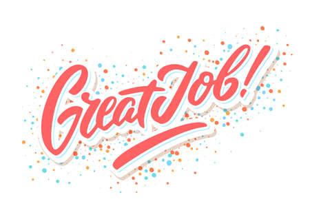 Ilustración de Great Job banner. Hand lettering. Vector hand drawn illustration. - Imagen libre de derechos