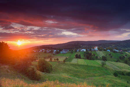 Photo for Summer sunrise landscape in Bucovina, Romania - Royalty Free Image