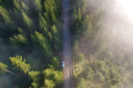 Photo for Aerial view of the mountain road, in Bucovina - Royalty Free Image