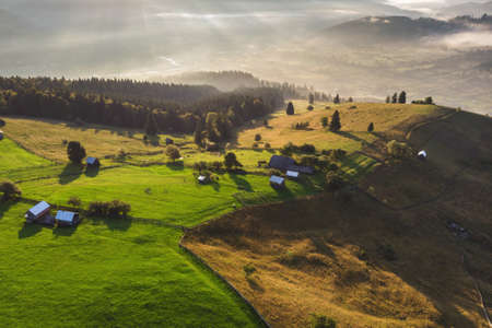Photo for Aerial view of the mountain village in Bucovina - Royalty Free Image
