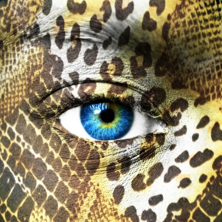 Human face with animal patterns