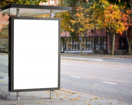 Foto de Blank billboard on city bus station - Imagen libre de derechos