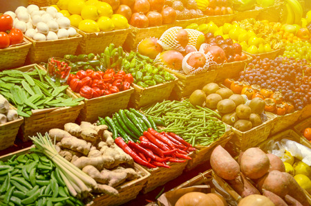Photo for Fruit market with various colorful fresh fruits and vegetables - Royalty Free Image