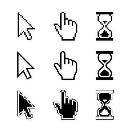 Illustration pour Pixel cursors icons - mouse cursor hand pointer hourglass. Vector illustration. - image libre de droit