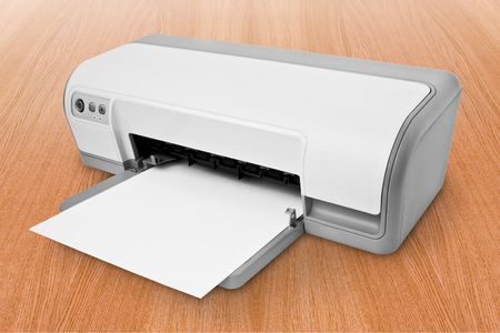 computer technology. white ink-jet printer with paper