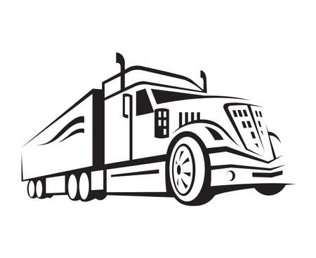 Illustration pour monochrome illustration of a truck with trailer - image libre de droit