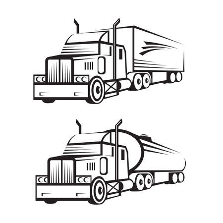 Illustration pour monochrome set of a truck with trailer and tank truck - image libre de droit