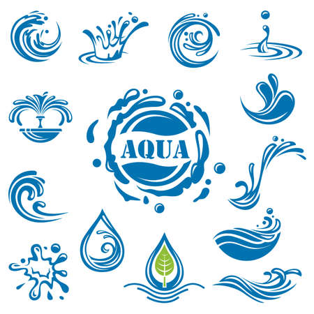 Illustration pour set of fourteen water icons - image libre de droit