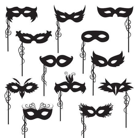 Illustration pour set of isolated carnival masks - image libre de droit