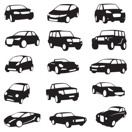 Illustrazione per set of fifteen black cars silhouettes - Immagini Royalty Free