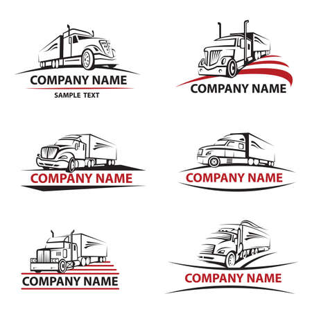 Illustration pour set of six icons with truck and trailer - image libre de droit