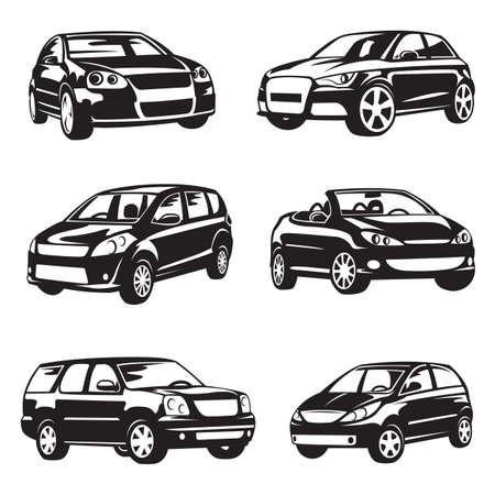 Illustration pour set of six black cars - image libre de droit