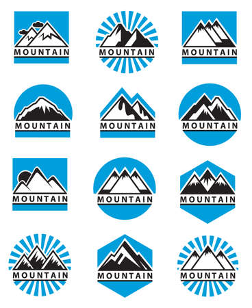 Illustration pour set of twelve mountain icons - image libre de droit