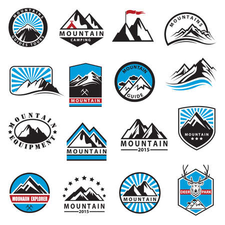 Illustration pour set of sixteen mountain icons - image libre de droit