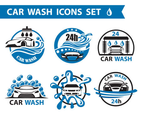 Illustration for set of six car wash icons - Royalty Free Image