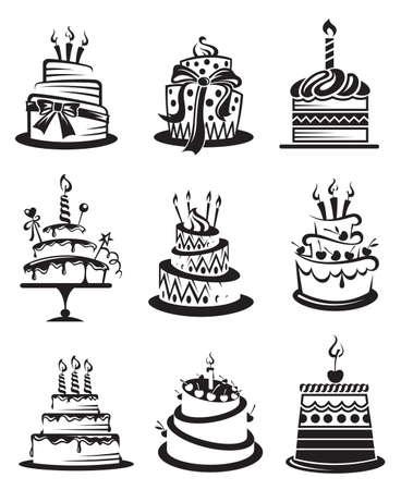 Illustration for set of nine monochrome cakes - Royalty Free Image