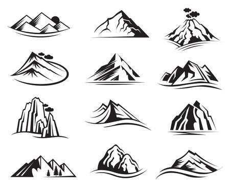 Illustration pour set of twelve mountain icons - image libre de droit