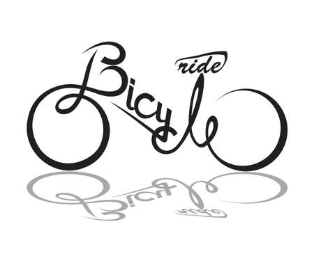 Illustration pour abstract bicycle illustration with form the text - image libre de droit