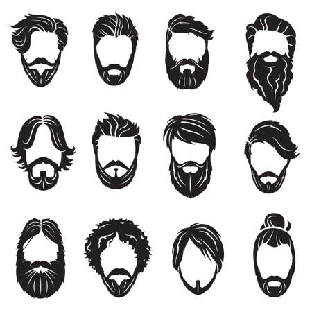 Illustration for monochrome collection of twelve face with beards and hairs - Royalty Free Image