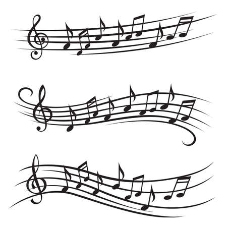 Illustration pour monochrome illustration of music notes on stave - image libre de droit