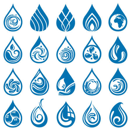 collection of various water drop icons