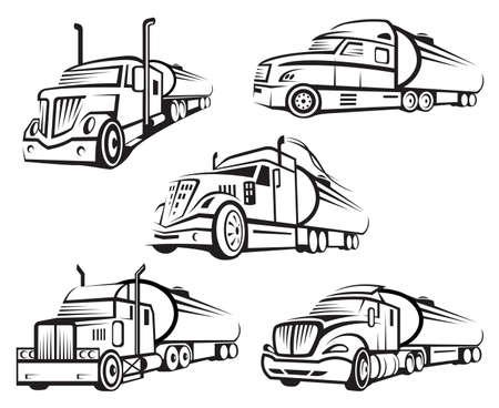Illustration pour monochrome set of four tank truck - image libre de droit