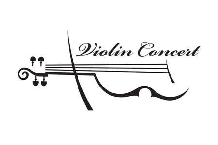 Illustration pour abstract monochrome illustration of violin with text - image libre de droit