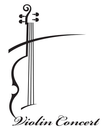 Illustration for abstract monochrome illustration of violin with text - Royalty Free Image