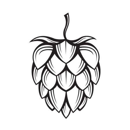 Ilustración de black illustration of hop for brewing - Imagen libre de derechos