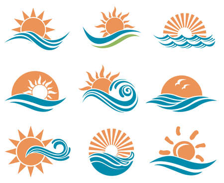 Ilustración de abstract collection of sun and sea icons - Imagen libre de derechos